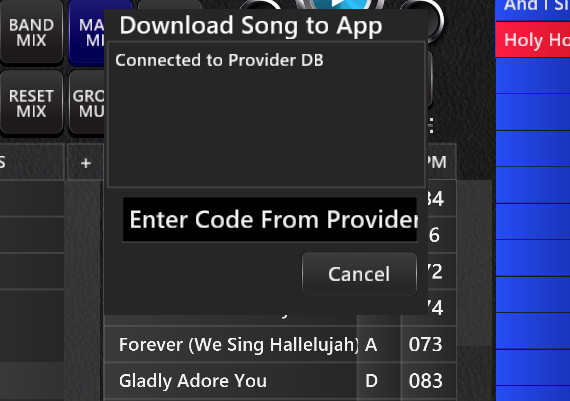 Using the download code to load songs to the Transition Player